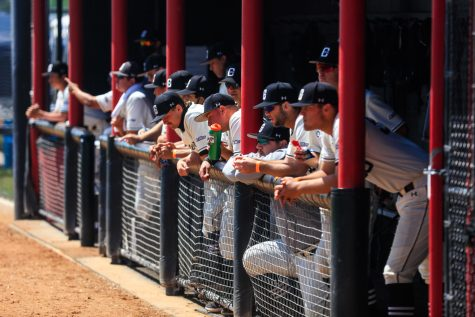 CSUN Matadors dugout during the first game of a doubleheader against the UC Riverside Highlanders at Matador Field in Northridge, Calif., on Saturday, April 17, 2021. The Matadors lost both games 5-1 and 8-4.