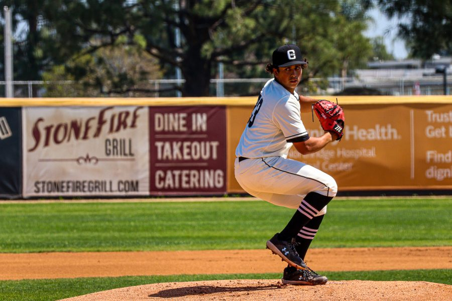Zuko Tillman prepares to pitch during the second game of the series against UC Irvine at Matador Field in Northridge, Calif., on Saturday, April 3, 2021.