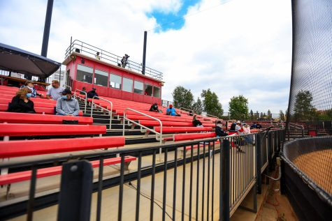 Fans attend a doubleheader against the Cal State Fullerton Titans in Northridge, Calif., on Saturday, April 24, 2021. On April 23, CSUN allowed fans to attend sporting events in limited capacity.