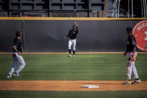 Denzel Clarke catches a fly ball against the UC Riverside Highlanders at Matador Field in Northridge, Calif., on Friday, April 16, 2021. The Matadors lost 6-5 in 11 innings.