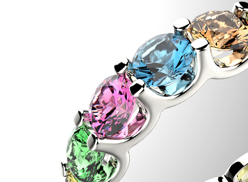 silver ring with multicolored jewels