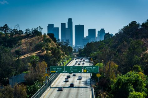 View of the 110 Freeway and Los Angeles Skyline from the Park Row Drive Bridge, in Los Angeles, California.