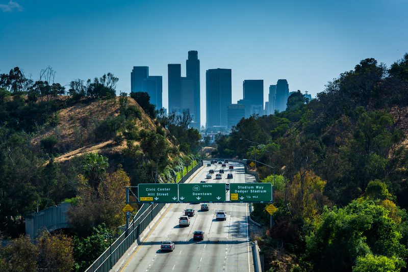 View+of+the+110+Freeway+and+Los+Angeles+Skyline+from+the+Park+Row+Drive+Bridge%2C+in+Los+Angeles%2C+California.