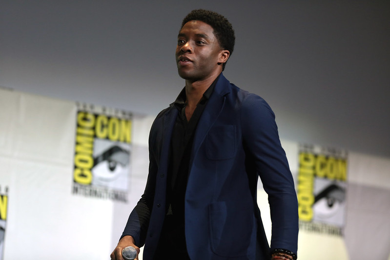 Chadwick Boseman speaking at the 2016 San Diego Comic Con International for Black Panther, at the San Diego Convention Center in San Diego, California.