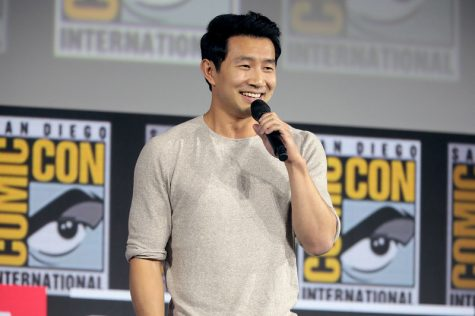 "Simu Liu speaking at the 2019 San Diego Comic Con International for ""Shang-Chi and the Legend of the Ten Rings"" at the San Diego Convention Center in San Diego, California."