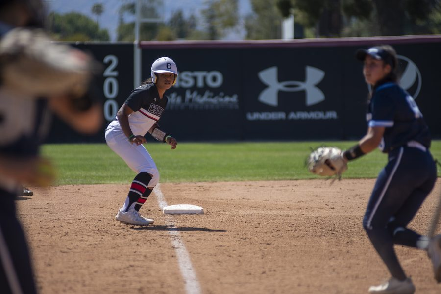 Savannah Farve prepares to run to home base during a match against the University of San Diego at the Matador Diamond in Northridge, Calif. on Wednesday, April 28, 2021.