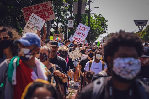 Protesters marched down Martin Luther King Jr. Boulevard to celebrate Juneteenth in Crenshaw, Calif., on June 19, 2020.