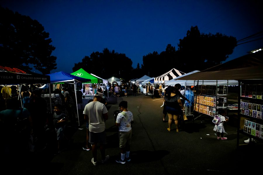 Attendees walking about at the 818 Night Market in Mission Hills, Los Angeles, Calif. on July 10, 2021.