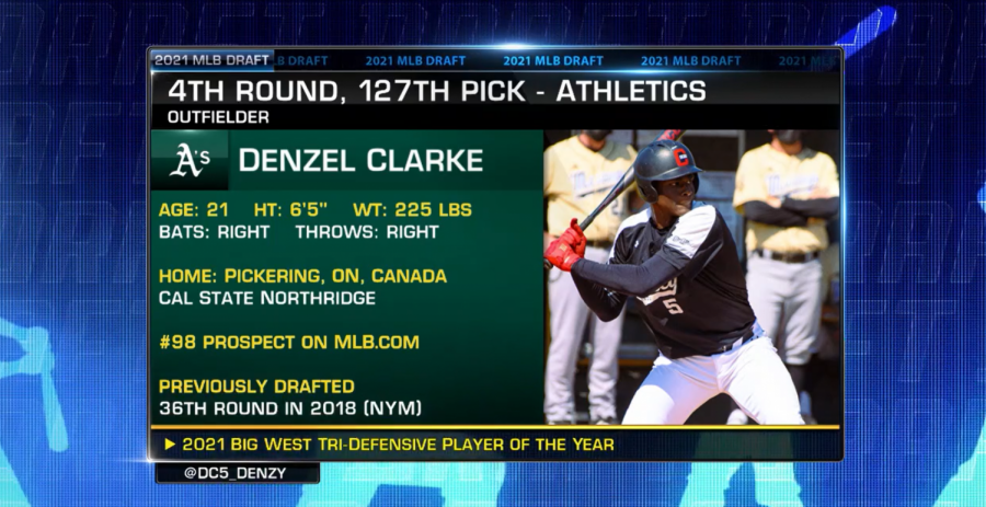 CSUN+outfielder+Denzel+Clarke+was+drafted+by+the+Oakland+Athletics+127th+overall+in+the+fourth+round+of+the+2021+MLB+Draft+on+Monday%2C+July+12%2C+2021.