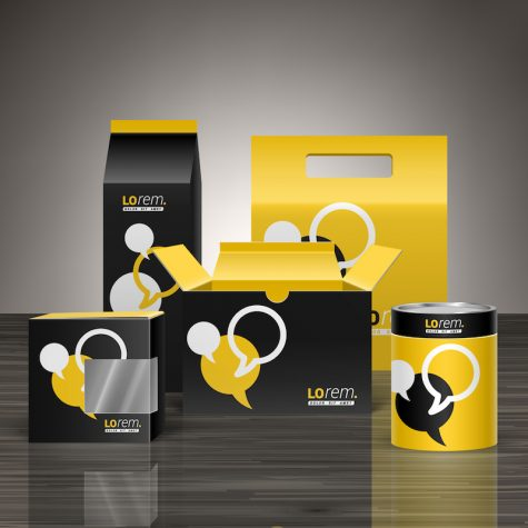Black and yellow promotional package design for corporate identity with dialog clouds.