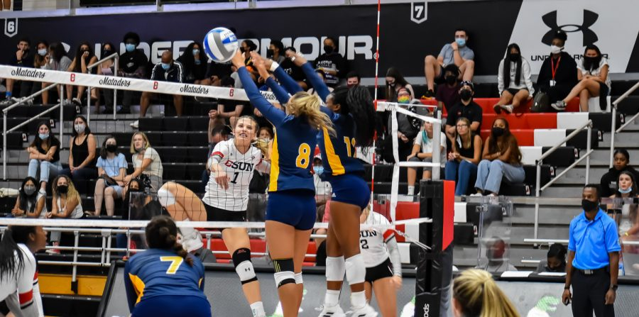 CSUNs sophomore Taylor Orshoff, 1, attacks the ball against UC Irvine on Sept. 24, 2021 in NORTHRIDGE, Calif.