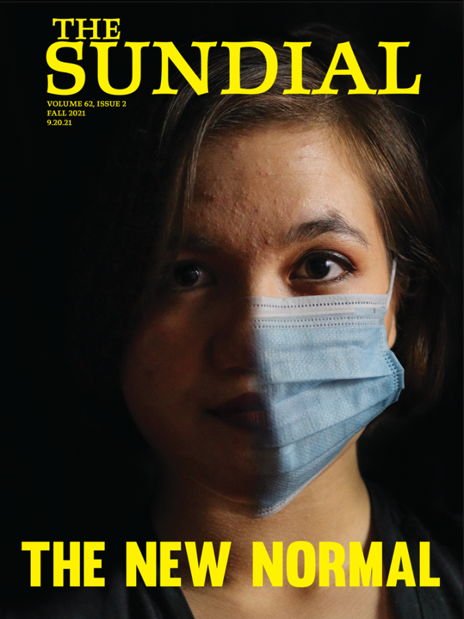 photo illustration of woman wearing half a surgical mask