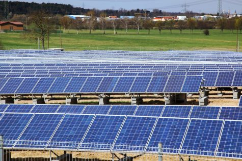 Field of solar panels for power production