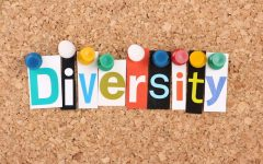 The word Diversity in cut out magazine letters pinned to a cork notice board