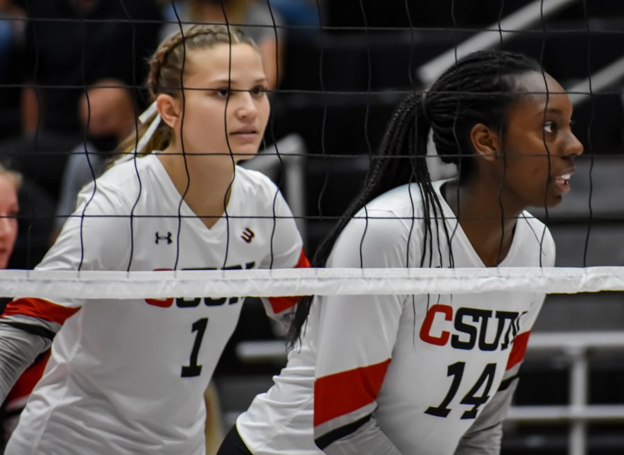 Taylor Hunter, 1, and sophomore Taylor Orshoff, 14, get in place for UC Irvines serve on Sep. 24, 2021 in Northridge, Calif.