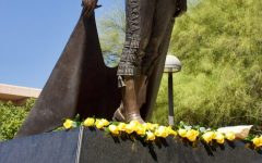 Yellow roses were placed at the Matador Statue in California State University Northridge in Northridge, Calif. in honor of the upcoming 20th anniversary of 9/11 on Thursday, Sept. 9, 2021.