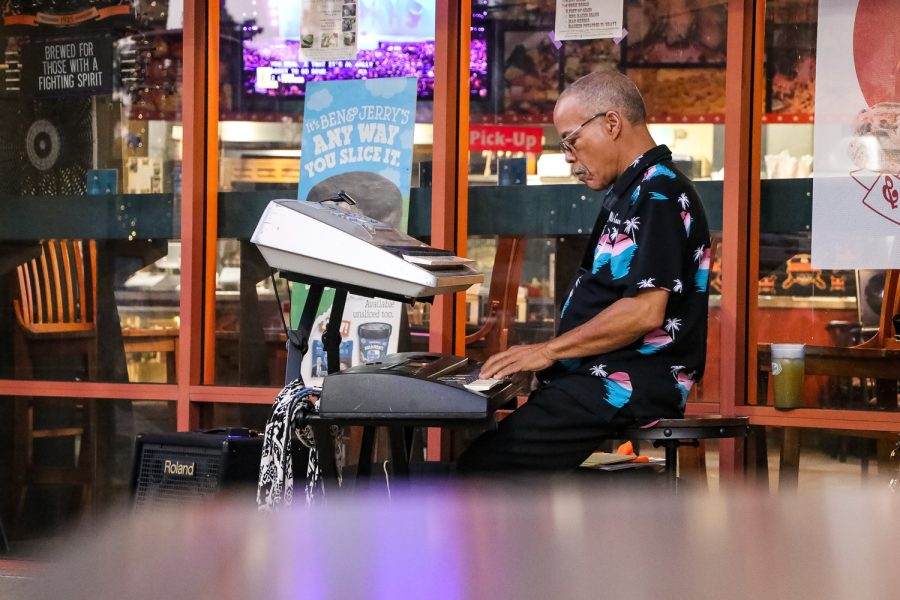 Milton Coleman plays jazz and blues music on his digital piano in Northridge, Calif. on Sept. 18, 2021