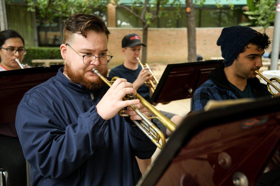 Victor Castaneda practices music at CSUN in Northridge, Calif. on Sept. 28, 2021.