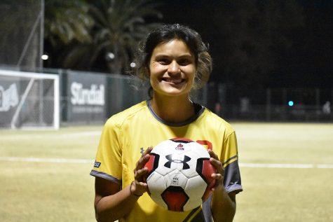 CSUN senior Amanda Delgado after the game against Long Beach State in Northridge, Calif., on Thursday, Oct. 21, 2021.