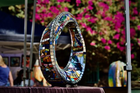 A mosaic art piece by local artist Charles Sherman is displayed at a community art fair organized and hosted by The Museum of The San Fernando Valley in Northridge, Calif. on Sept. 18, 2021.