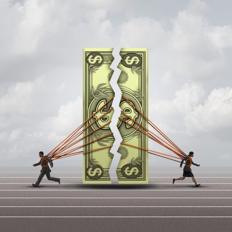 Equal pay concept and gender wage gap symbol as a man and woman pulling apart a generic dollar as a financial compensation metaphor for equality
