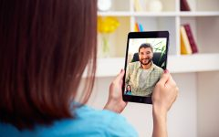 couple talking online video chat
