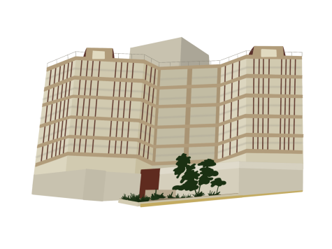 Illustration of Twin Towers Correctional Facility by Carolyn Burt.