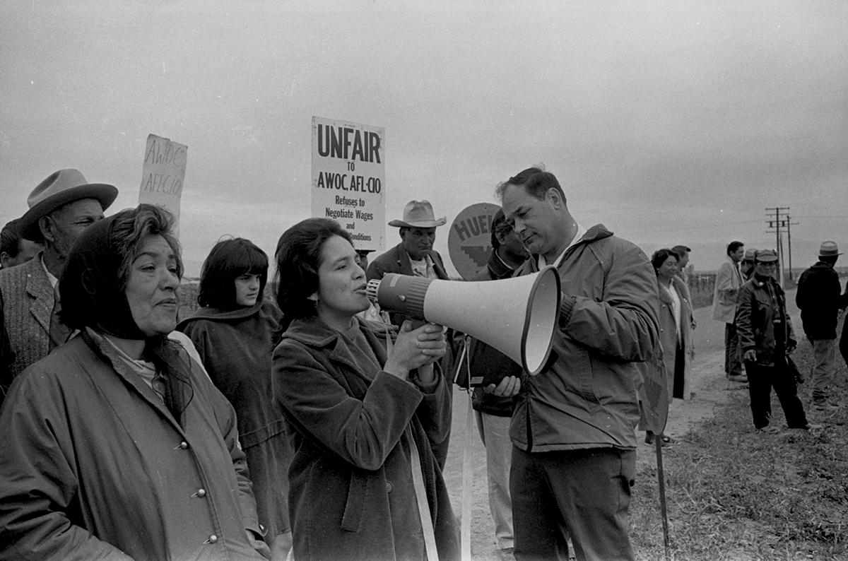 Farmworker Carolina Franco in Modesto during the first pilgrimage to Sacramento, 1966.