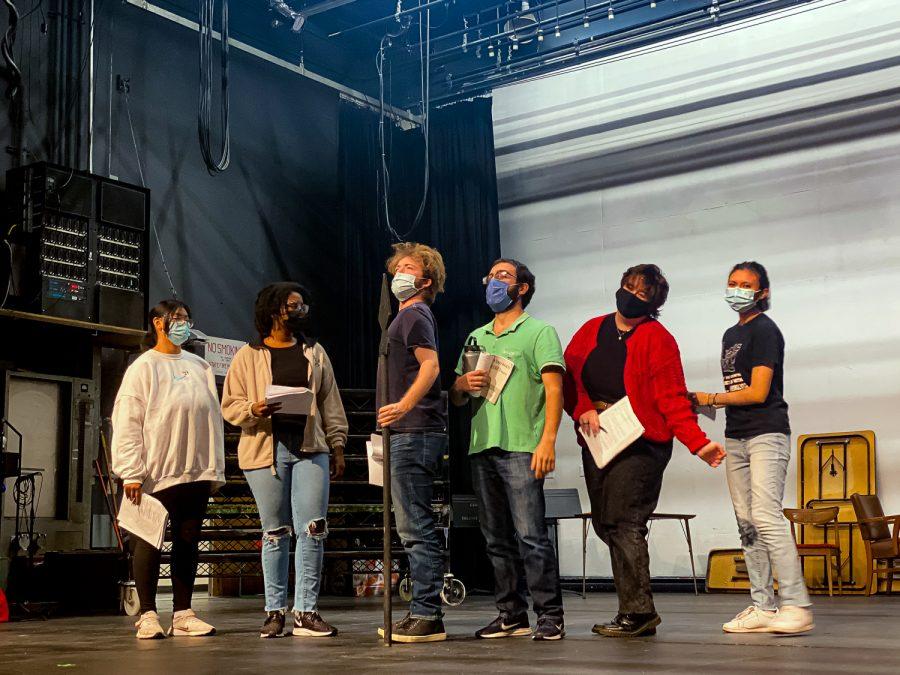 Ashley Macalino, extreme left, Joy Slack, Daniel McKinley, Karo Dzhgalian, Tommi Jo Mongold and Jocelyn Soriano rehearse for the upcoming production of Everybody  in Northridge, Calif. on Friday, Oct. 14, 2021.