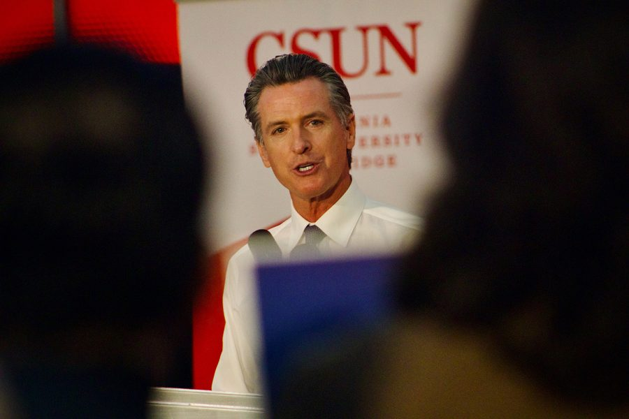 Gov. Gavin Newsom highlighted his $47.1 billion higher education funding plan at the Student Recreation Center in CSUN at Northridge, Calif., on Tuesday, Oct. 6, 2021. According to Newsom, it is the most funding for higher education in modern history.